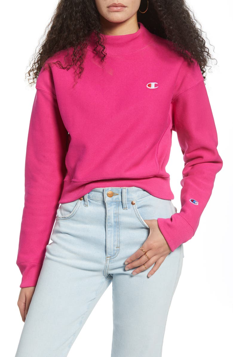 CHAMPION Mock Neck Reverse Panel Crop Sweatshirt, Main, color, 651