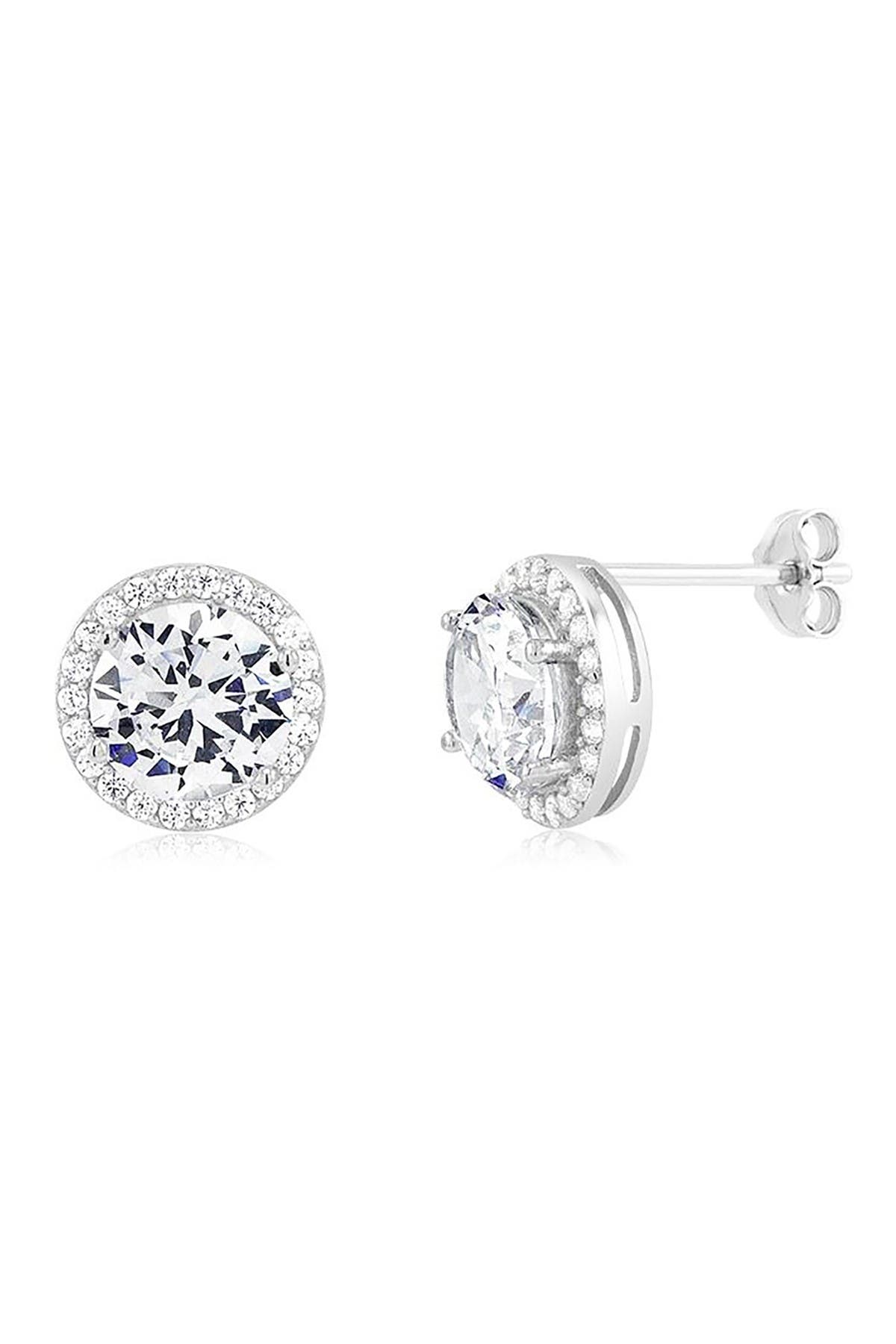 Image of Savvy Cie Rhodium Plated White CZ Halo Stud Earrings
