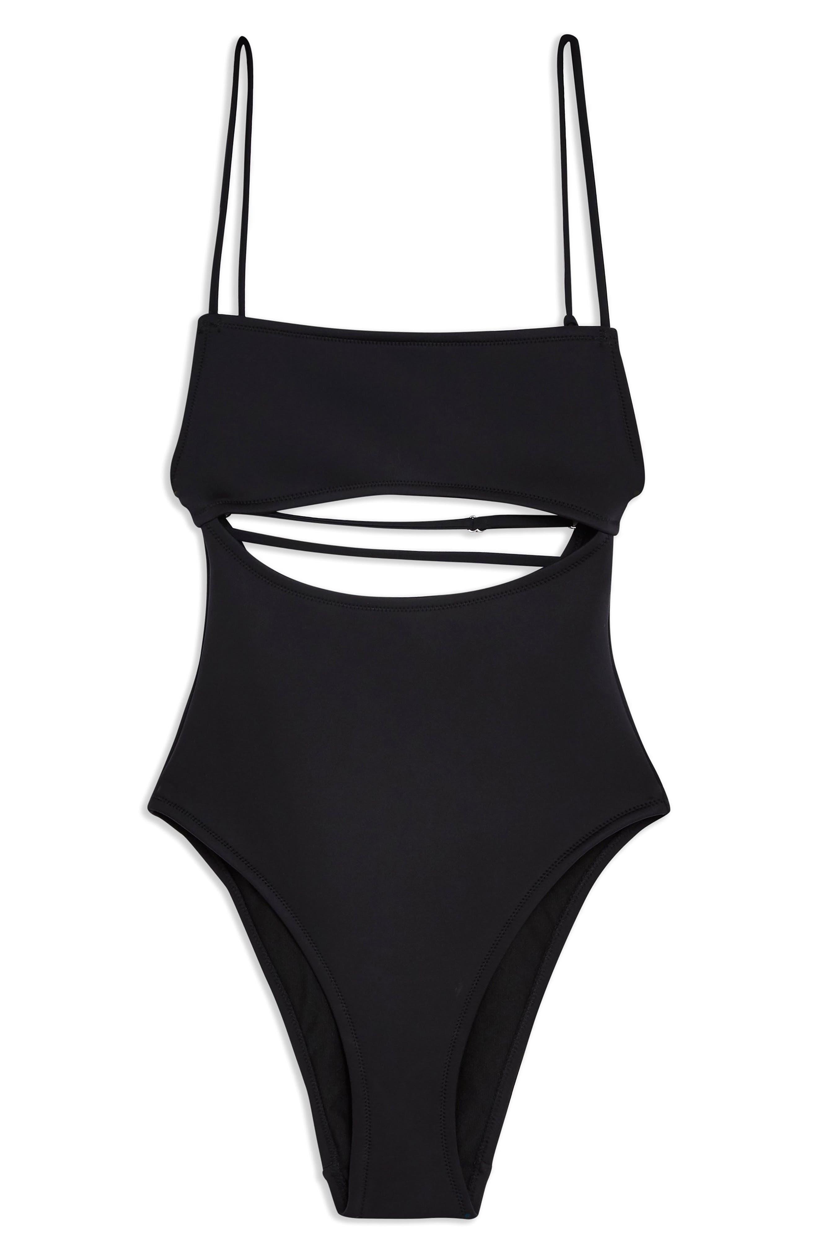 ,                             Split Middle Neoprene Swimsuit,                             Alternate thumbnail 5, color,                             BLACK
