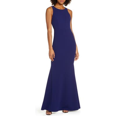 Lulus Strappy Back Crepe Mermaid Evening Gown, Blue