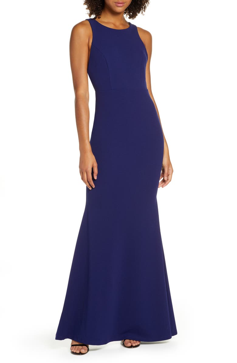 LULUS Strappy Back Crepe Mermaid Evening Gown, Main, color, NAVY