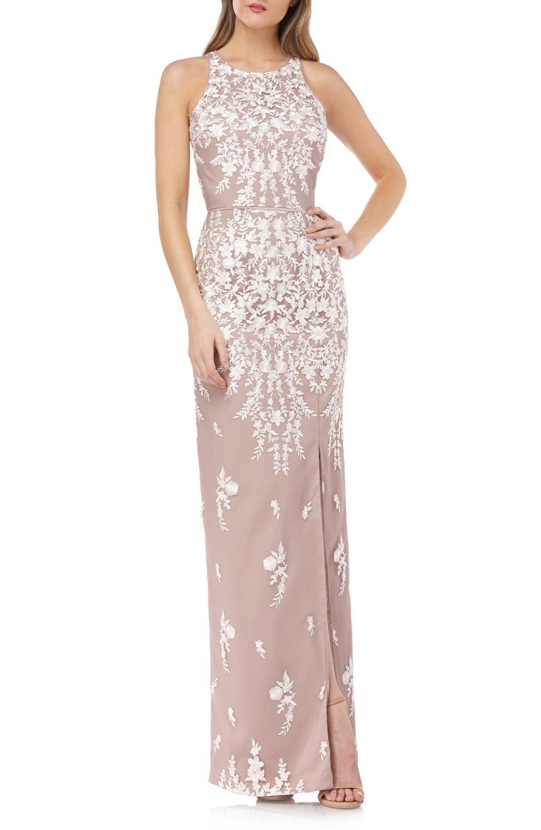 JS COLLECTIONS Floral Embroidered Mesh Evening Dress, Main, color, IVORY BLUSH