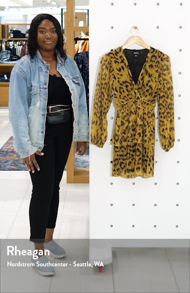 Leopard Print Tiered Ruffle Long Sleeve Metallic Dress, sales video thumbnail