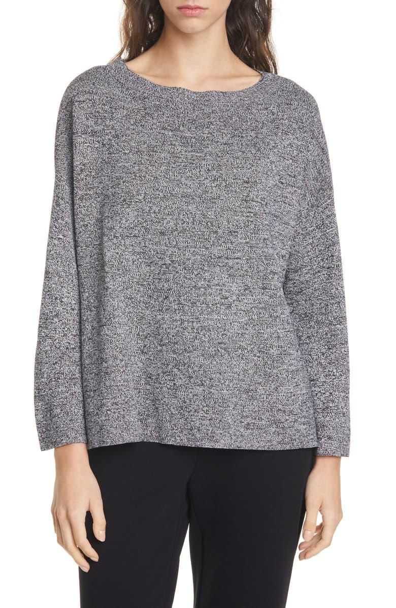 EILEEN FISHER Silk & Organic Cotton Sweater, Main, color, 015
