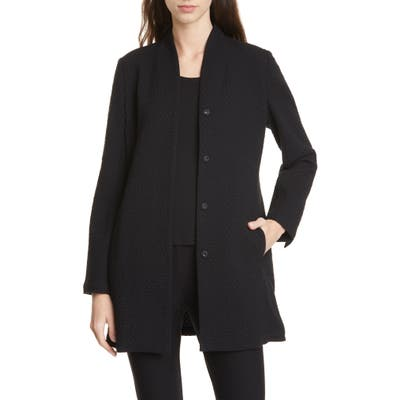 Eileen Fisher Long Jacquard Jacket, Black