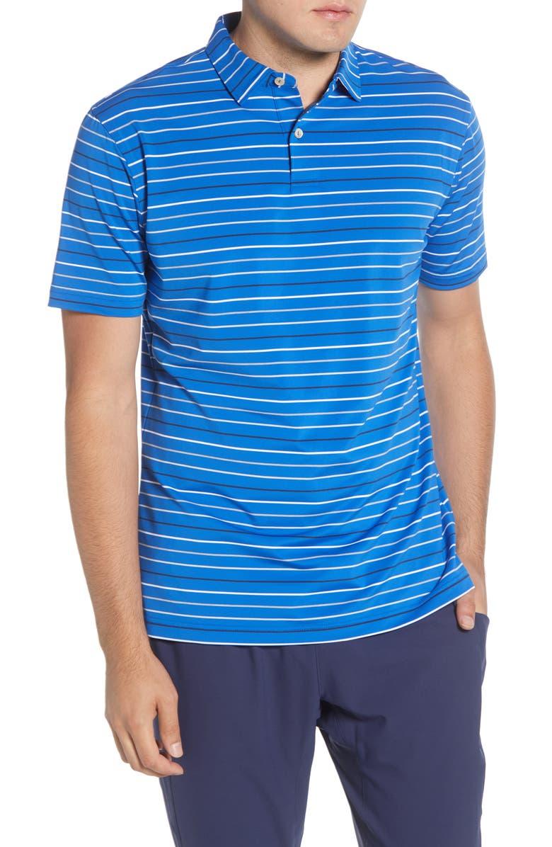 PETER MILLAR Baker Stripe Stretch Polo Shirt, Main, color, REBEL BLUE