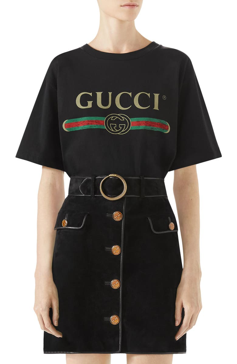 GUCCI Logo Tee, Main, color, BLACK PRINTED/MULTICOLOR