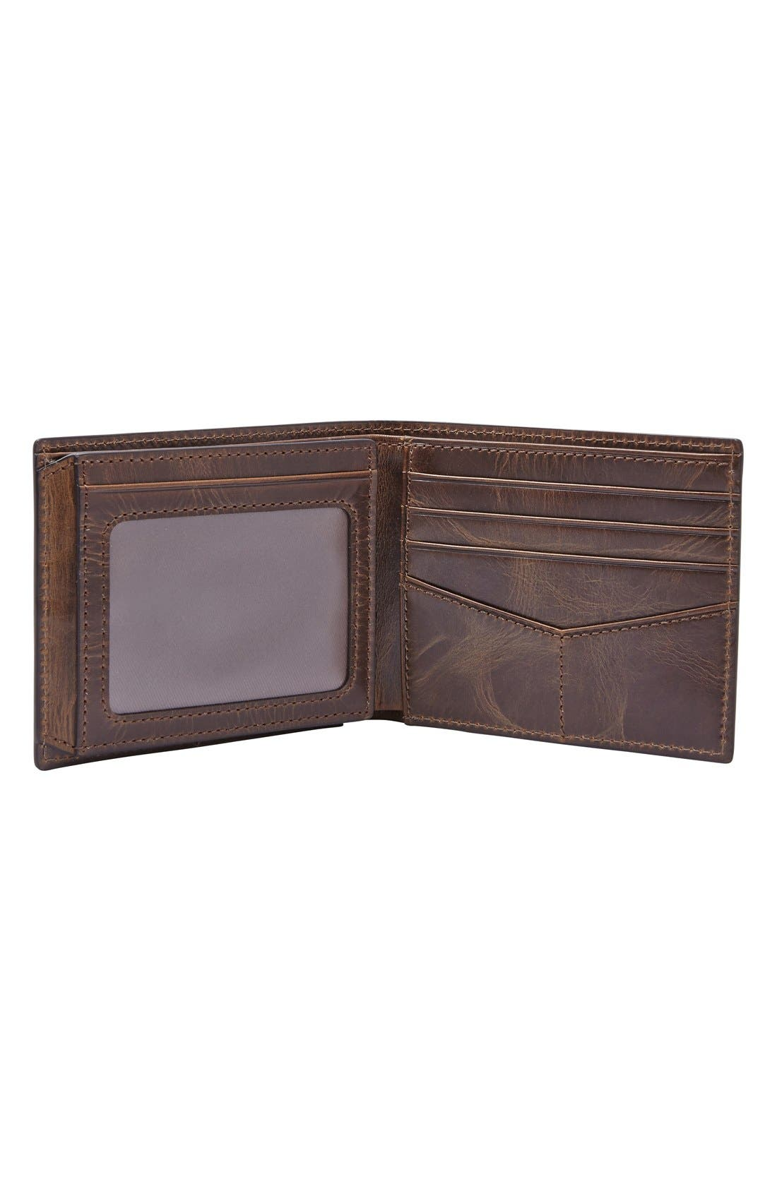 ,                             'Derrick' RFID Leather Bifold Wallet,                             Alternate thumbnail 2, color,                             DARK BROWN