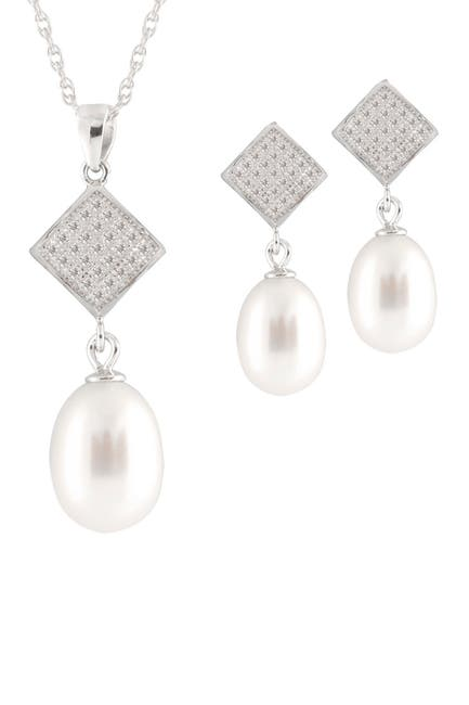 Image of Splendid Pearls Pave CZ & 7-9mm Freshwater Pearl Earrings & Necklace Set