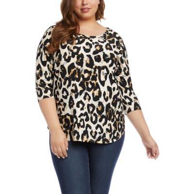Plus Size Karen Kane Leopard Print Top, Brown