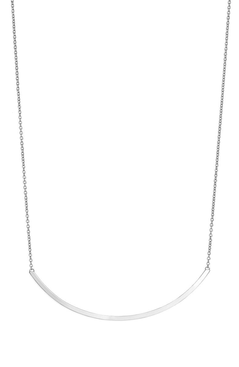 REBECCA MINKOFF Curved Bar Pendant Necklace, Main, color, 040