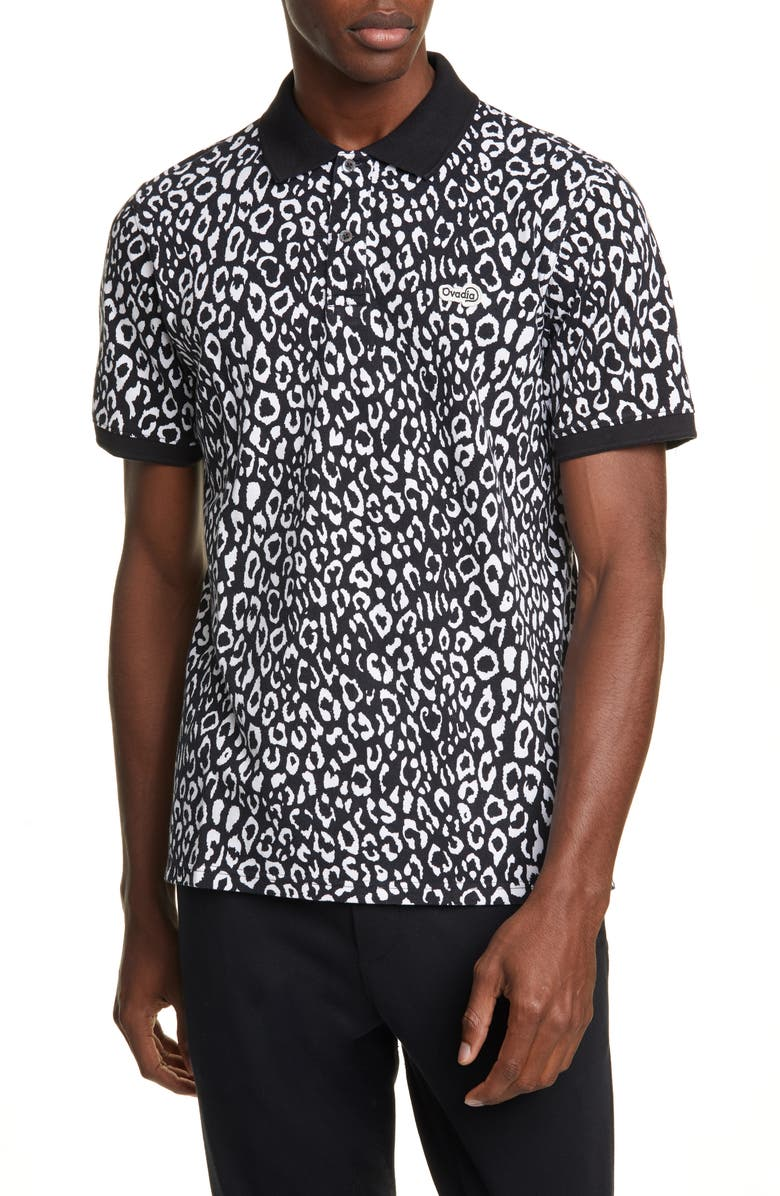 OVADIA Leopard Piqué Polo, Main, color, BLACK/WHITE