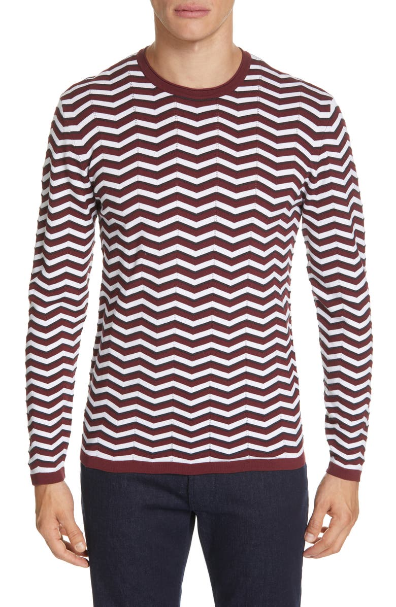 EMPORIO ARMANI Wave Stripe Crewneck Sweater, Main, color, RED