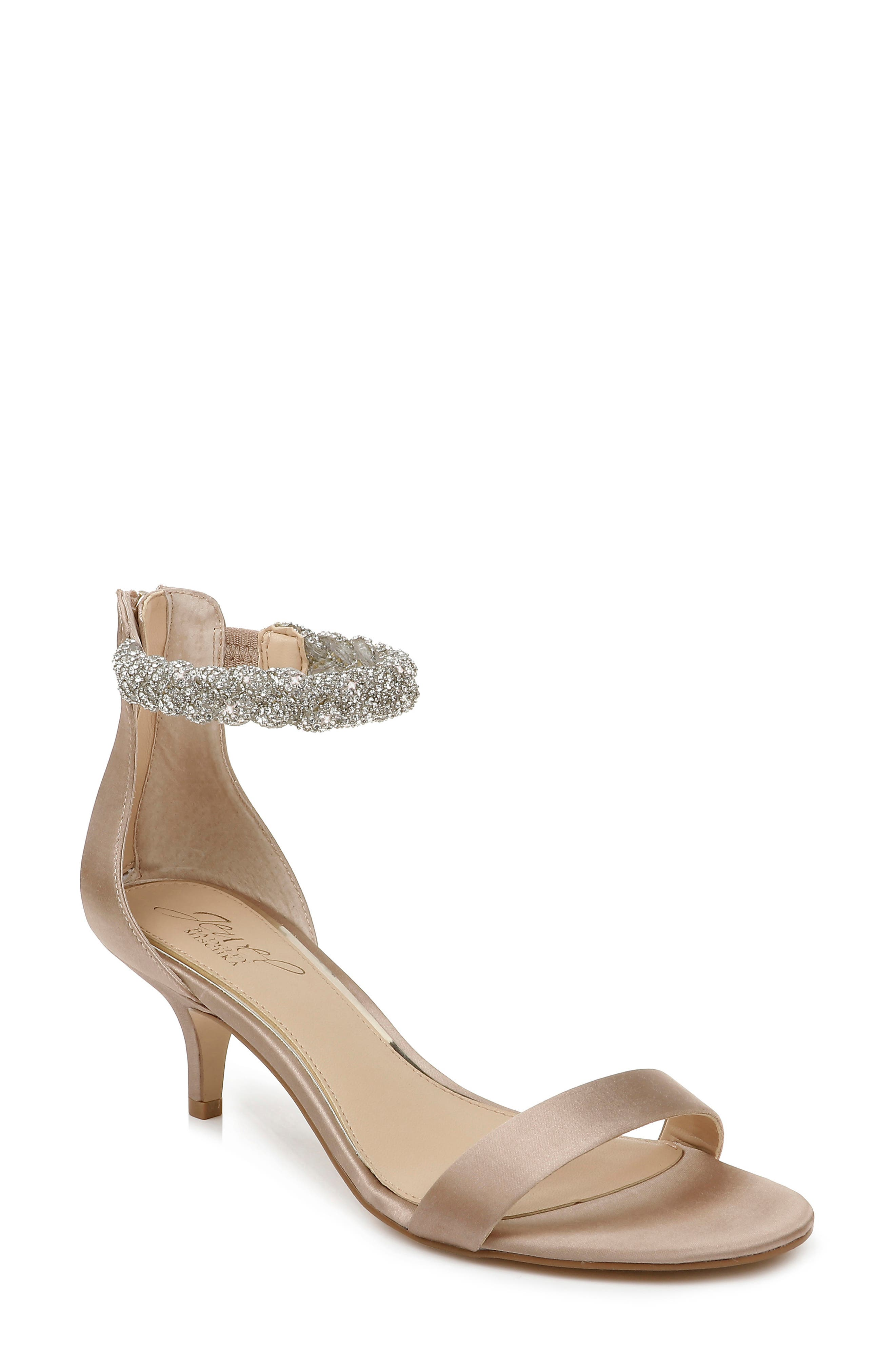 A flirty little kitten heel adds just-right height to an elegant satin sandal finished with a crystal-encrusted ankle strap. Style Name: Jewel Badgley Mischka Nepeta Embellished Sandal (Women). Style Number: 5998996. Available in stores.
