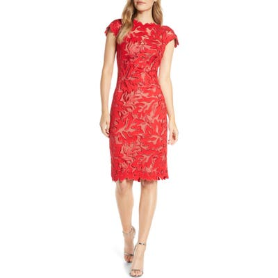 Tadashi Shoji Leaf Lace Cocktail Dress, Red