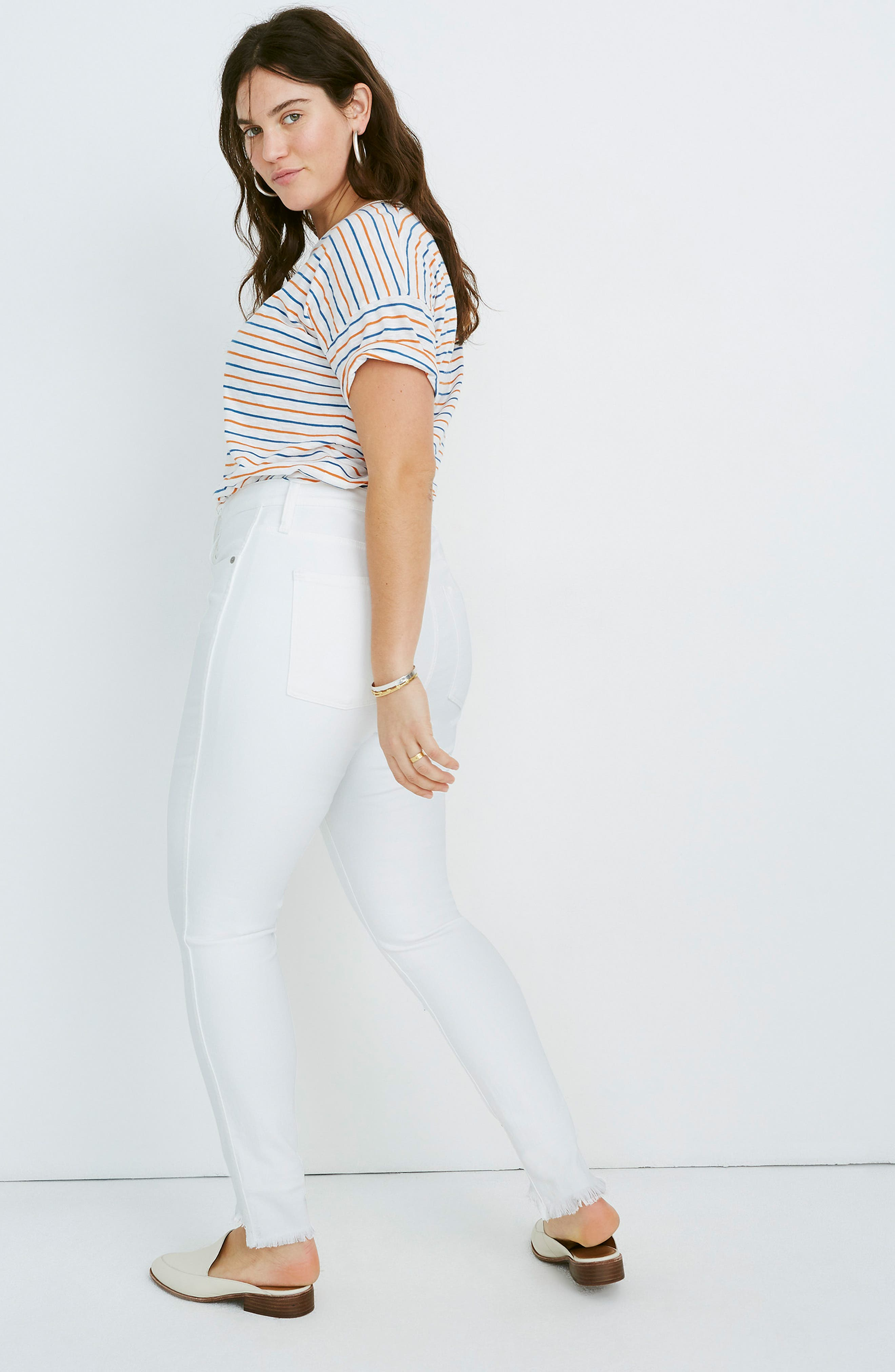 ,                             10-Inch High Waist Button Front Ankle Skinny Jeans,                             Alternate thumbnail 9, color,                             PURE WHITE