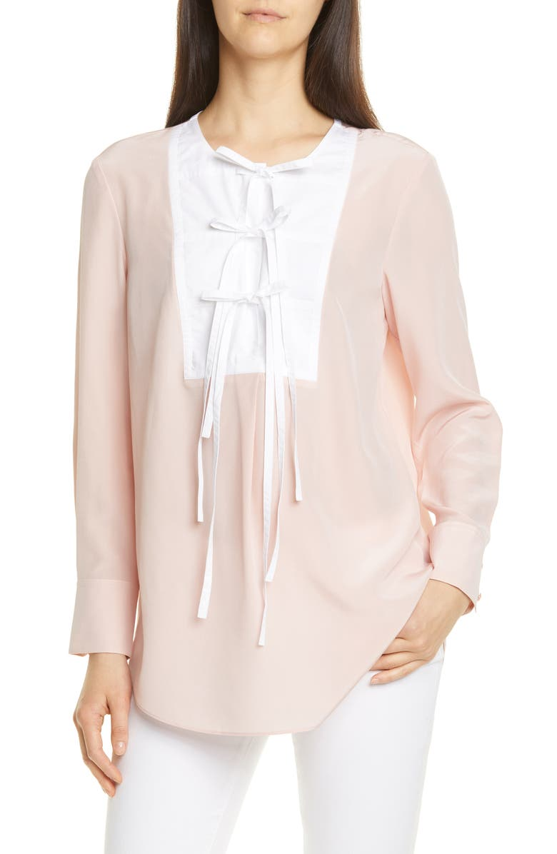 TORY BURCH Tie Front Silk Top, Main, color, MINERAL PINK