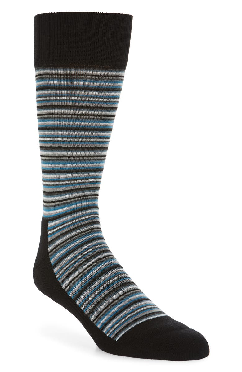 NORDSTROM MEN'S SHOP Mini Varied Stripe Socks, Main, color, BLACK/ GREY