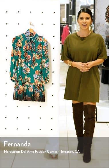 Merrilee Floral Long Sleeve Tie Neck Minidress, sales video thumbnail