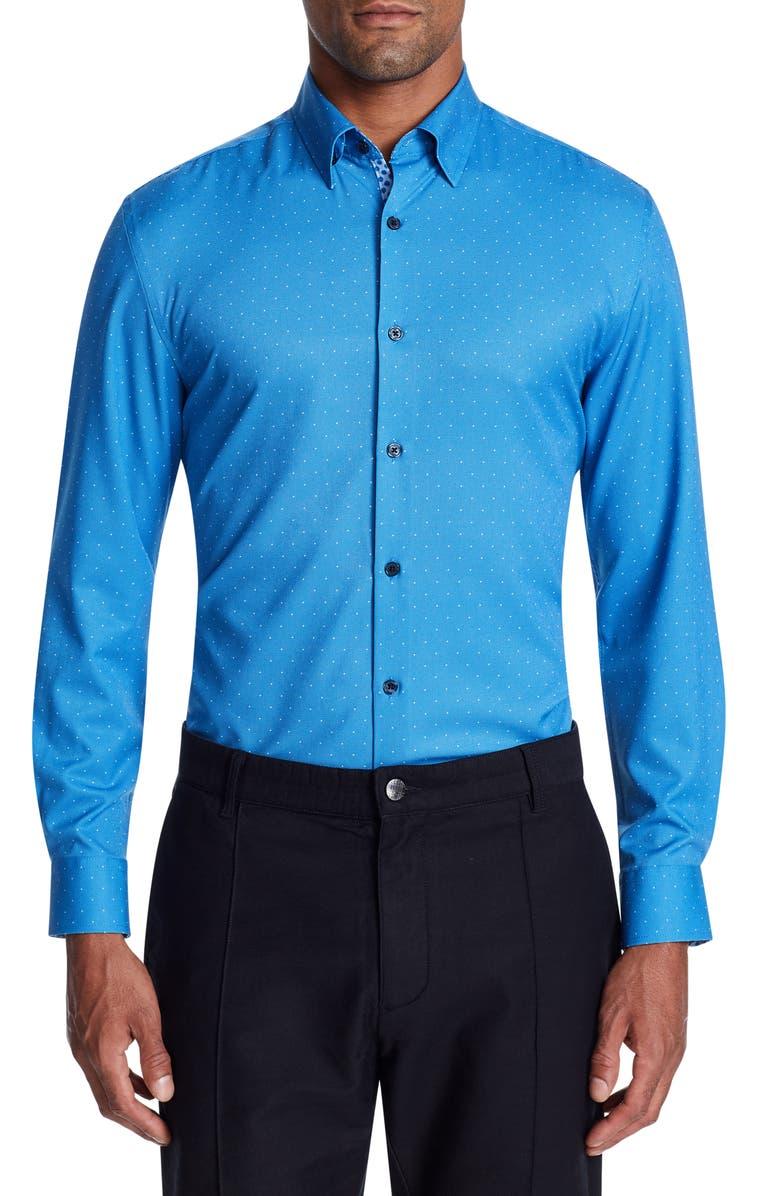 W.R.K Trim Fit Performance Stretch Dot Dress Shirt, Main, color, BLUE