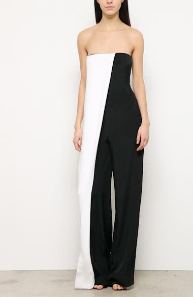 Colorblock Strapless Wide Leg Silk Jumpsuit, video thumbnail