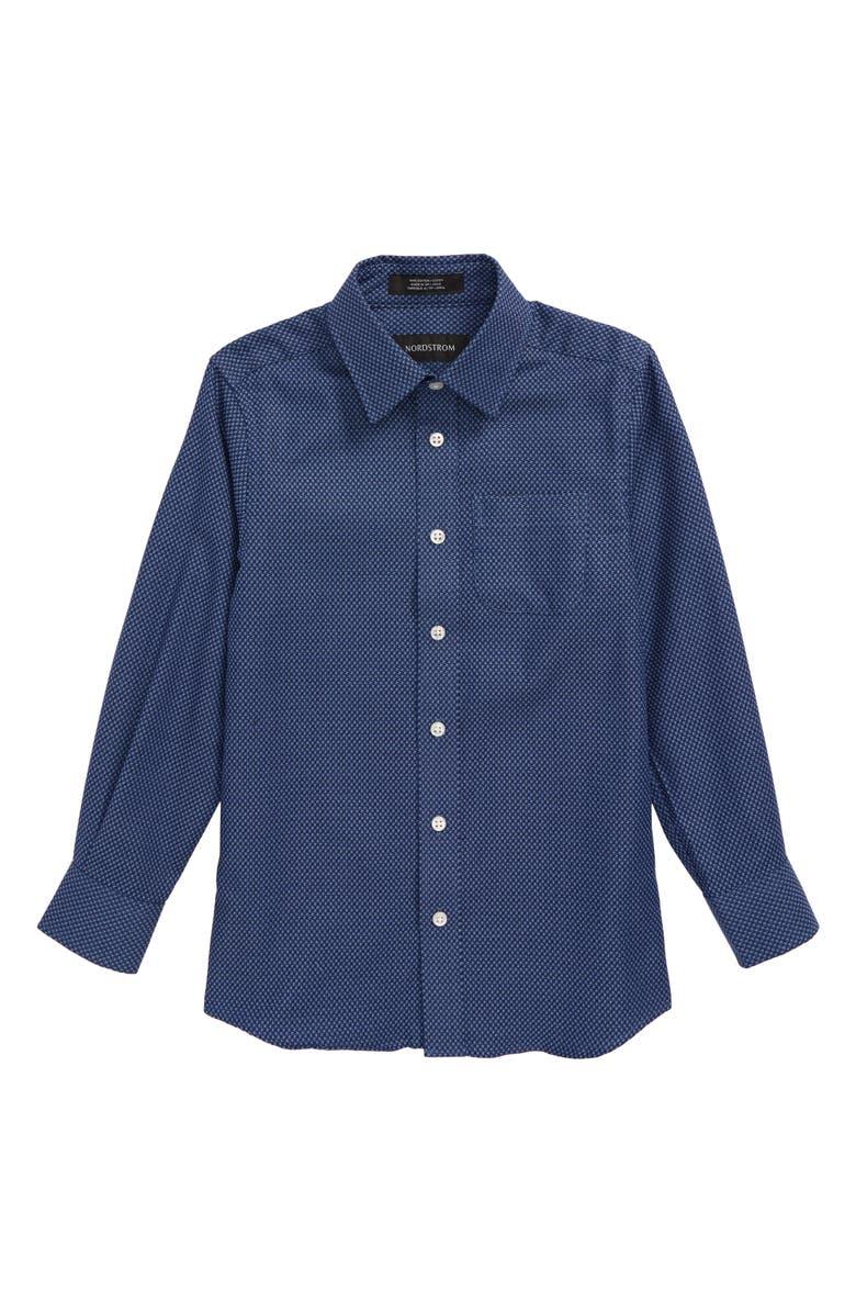 NORDSTROM Neat Microcheck Dress Shirt, Main, color, BLUE MAZARINE SQUARES