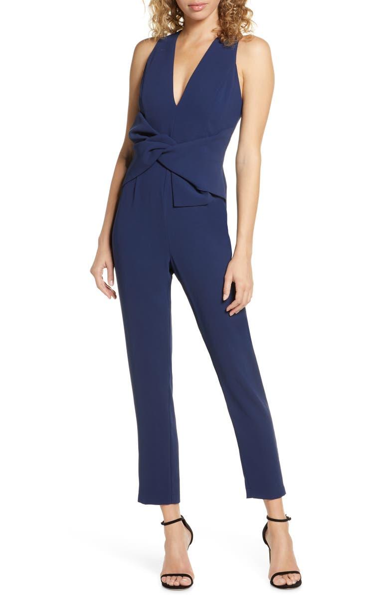 HARLYN Drape Jumpsuit, Main, color, NAVY