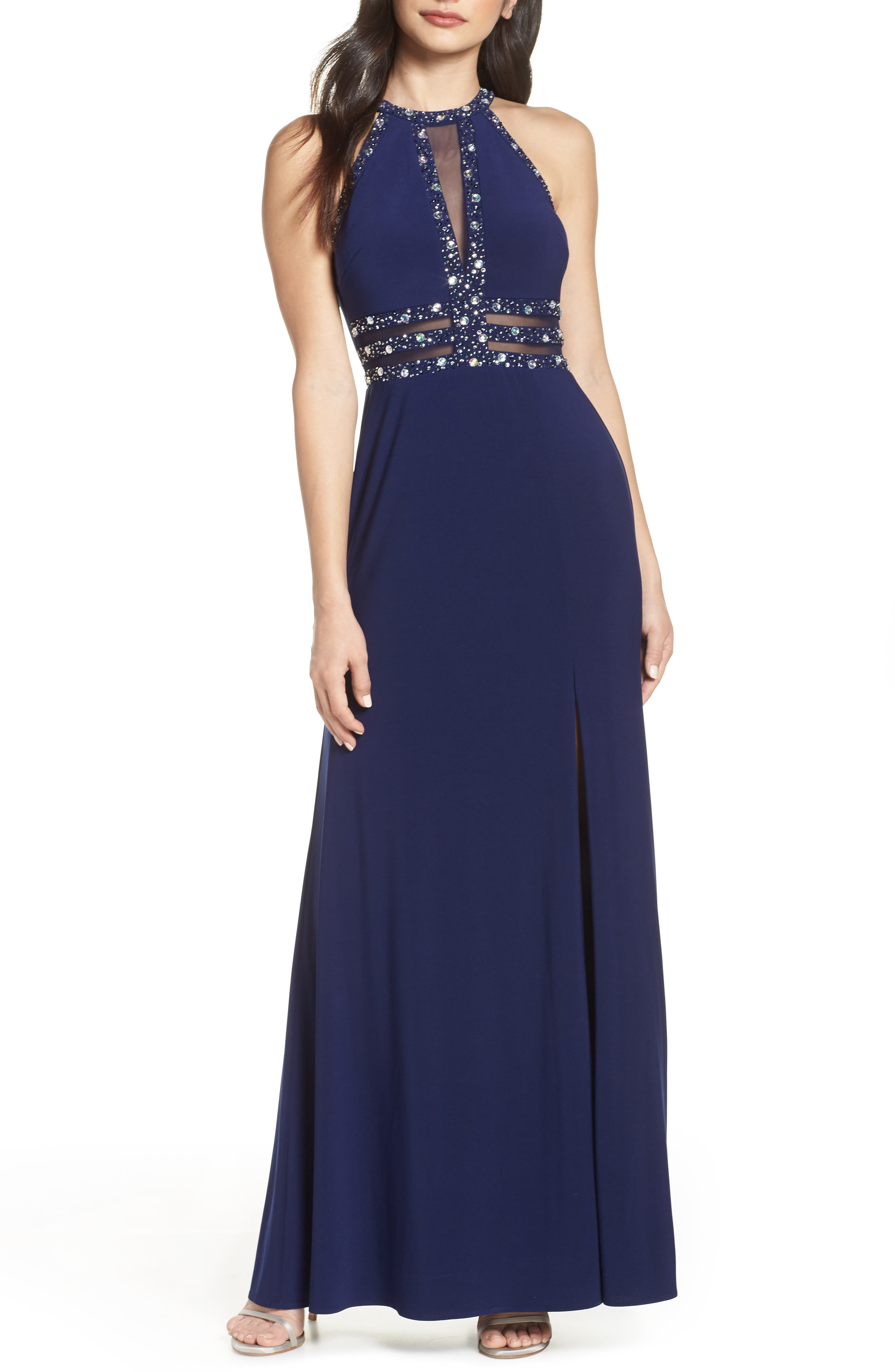 Morgan & Co. Beaded Mesh Inset Evening Dress, Blue