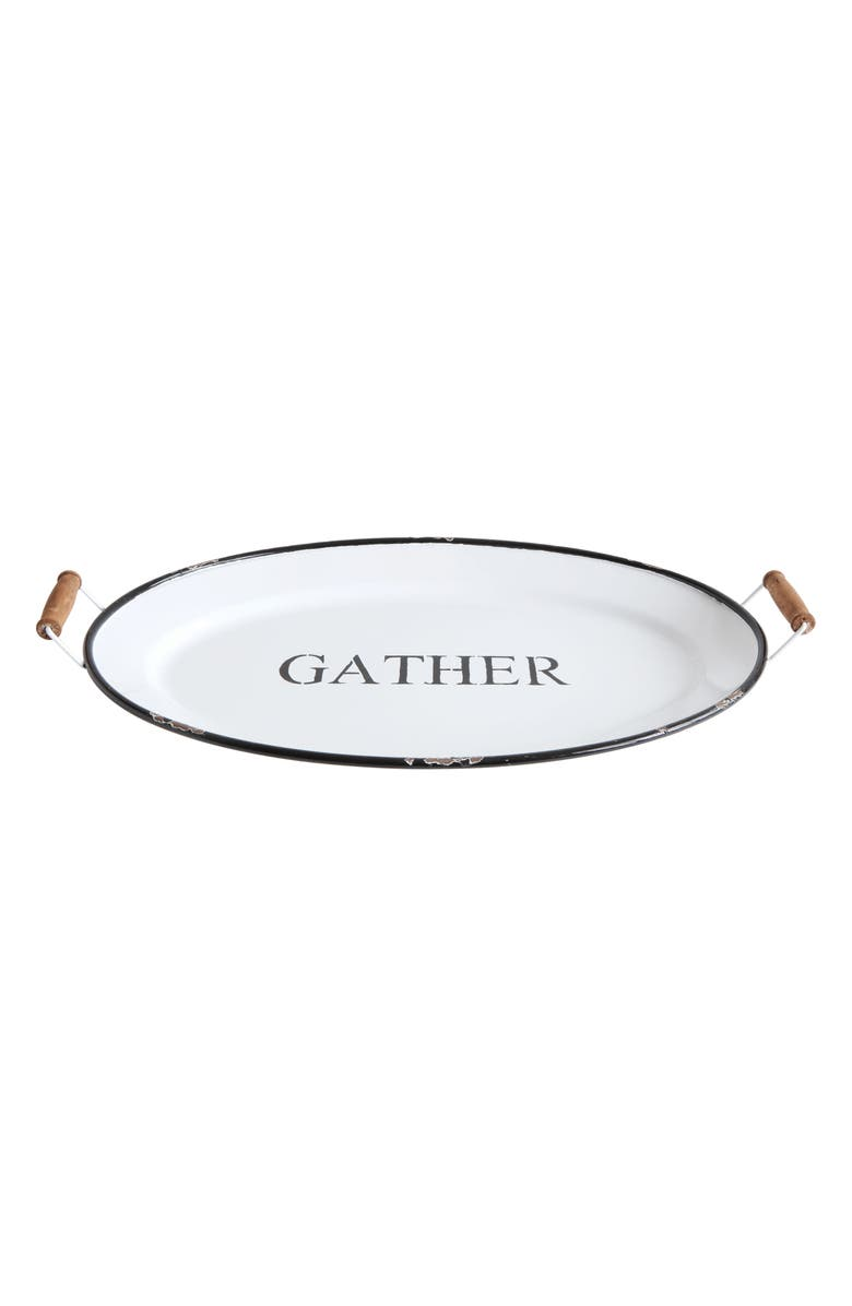 CREATIVE CO-OP Extra Large Gather Metal Tray, Main, color, WHITE