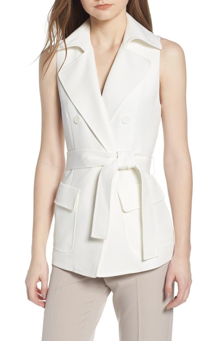 ANNE KLEIN Tie Front Vest, Main, color, 100