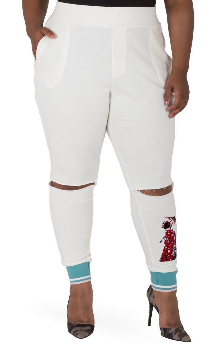 POETIC JUSTICE Akira Ankle Jogger Pants, Main, color, QUARTZ WHITE