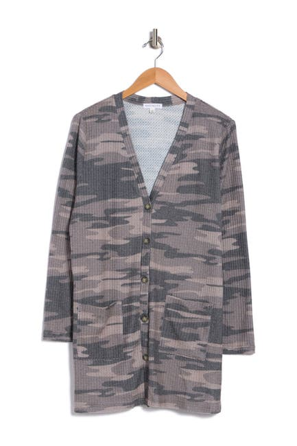 Image of Socialite Camo Print Waffle Knit Cardigan