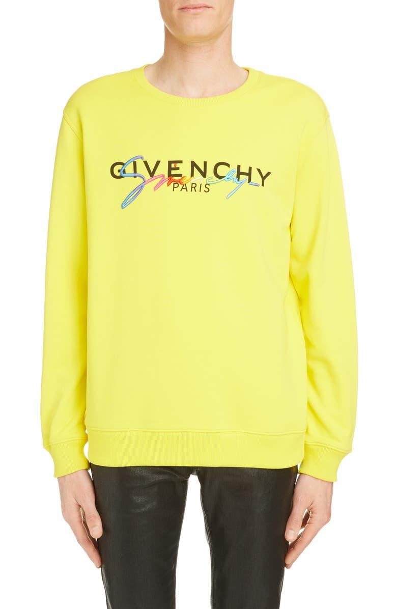 GIVENCHY Rainbow Logo Cotton Sweatshirt, Main, color, MIMOSA