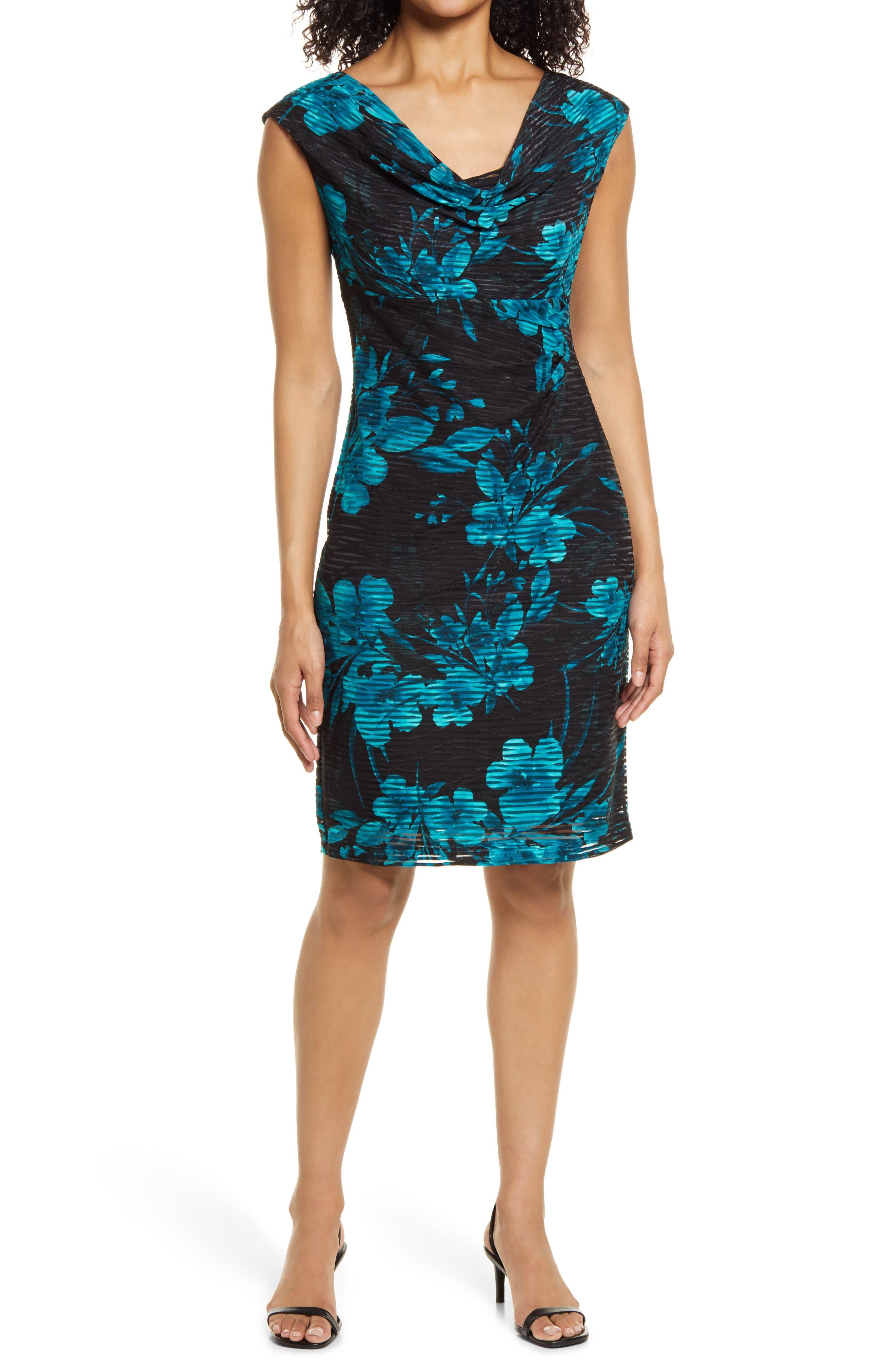 Floral Jacquard Knit Cowl Neck Sheath Dress