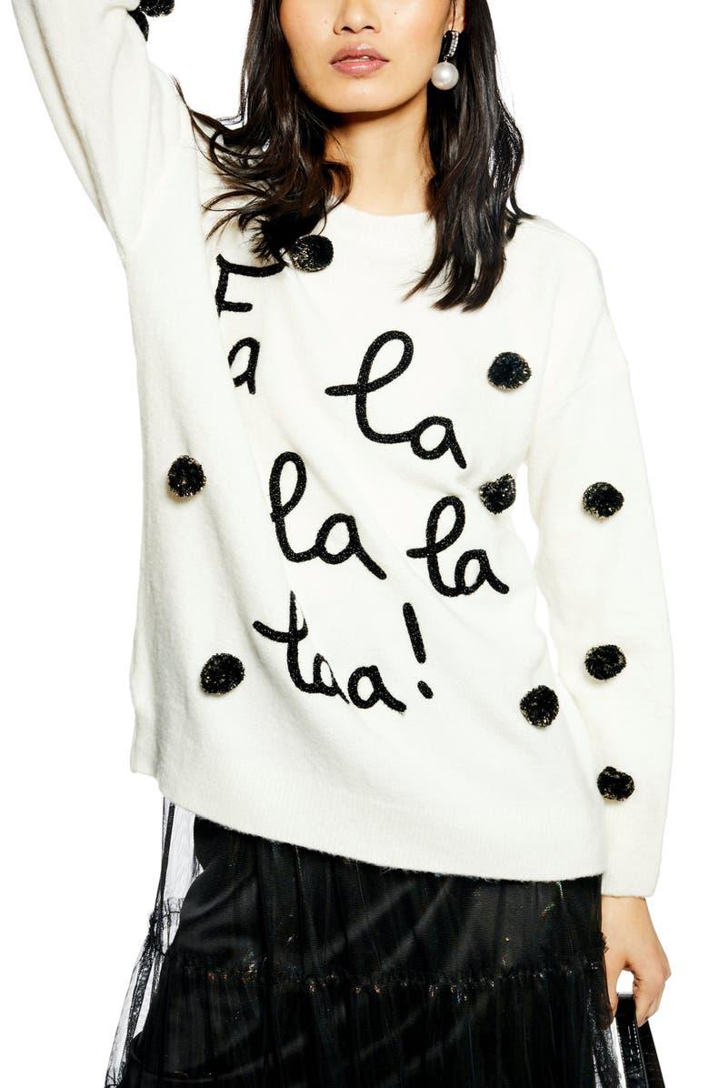 TOPSHOP Fa La La La Sweater, Main, color, 900