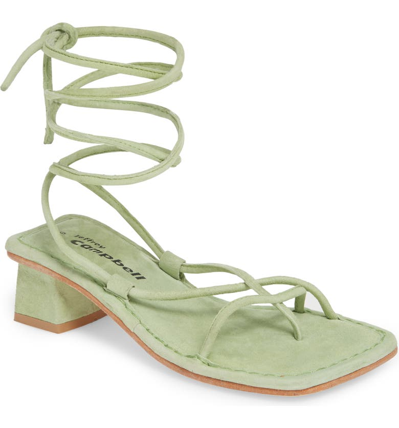 JEFFREY CAMPBELL Kaine Wraparound Tie Sandal, Main, color, MINT SUEDE