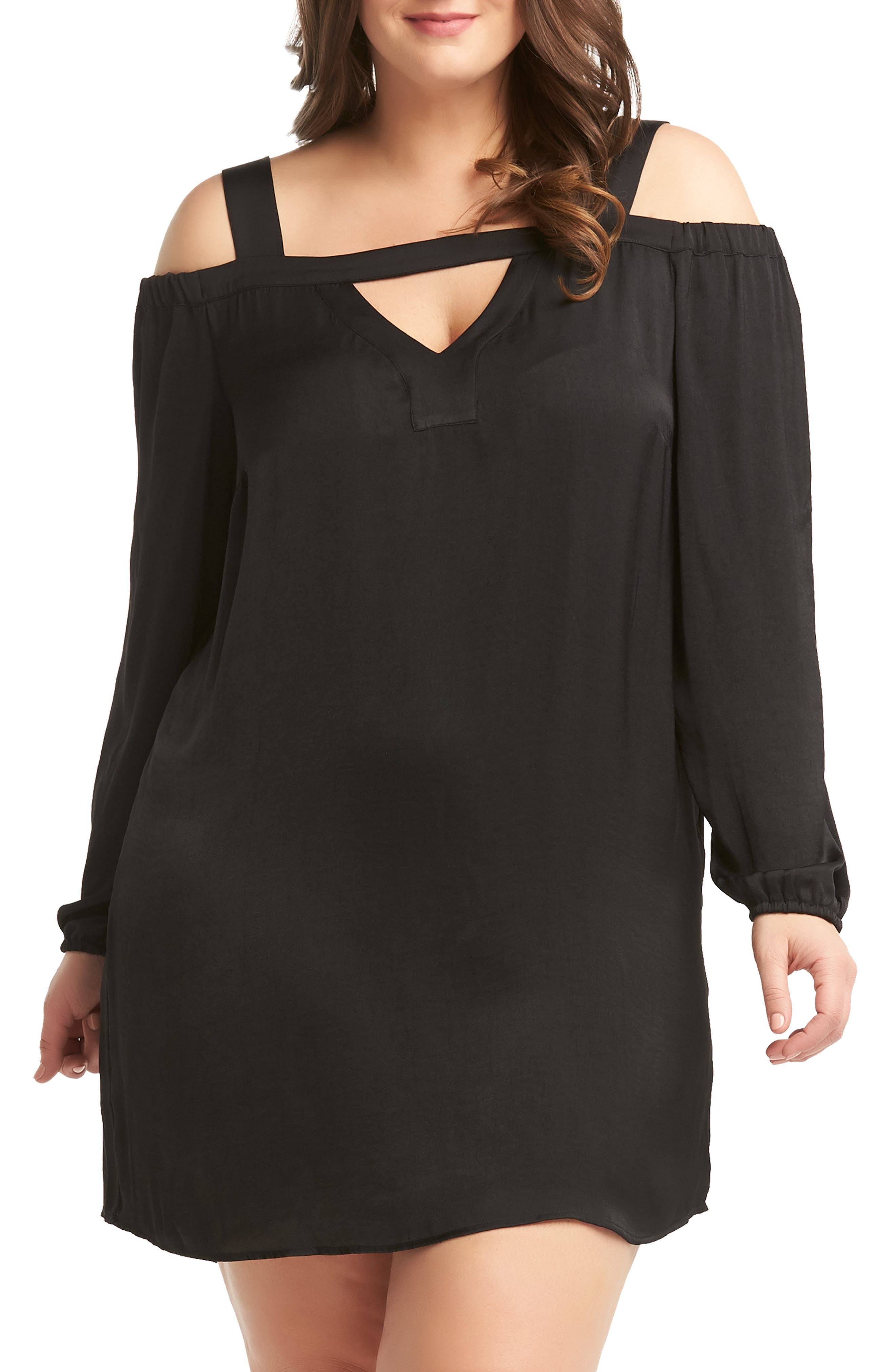 Plus Size Lemon Tart Blake Cold Shoulder Minidress, Black