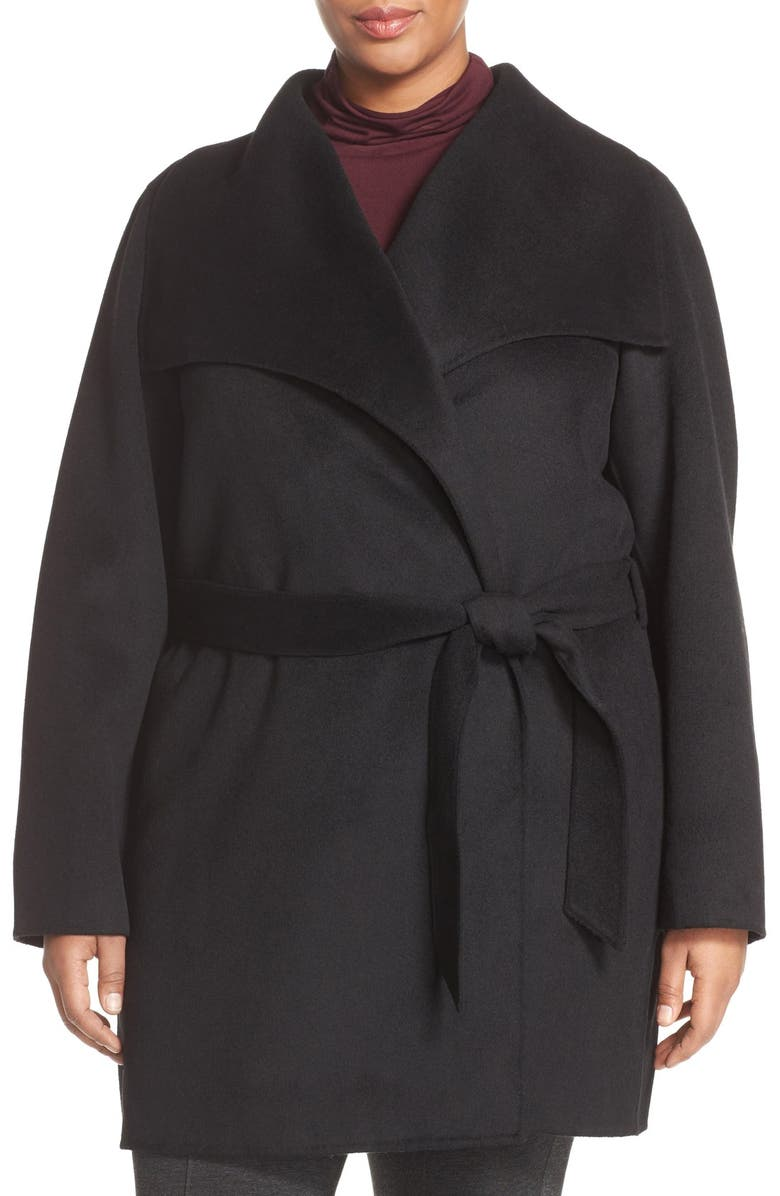 TAHARI 'Ella' Wrap Coat, Main, color, 001