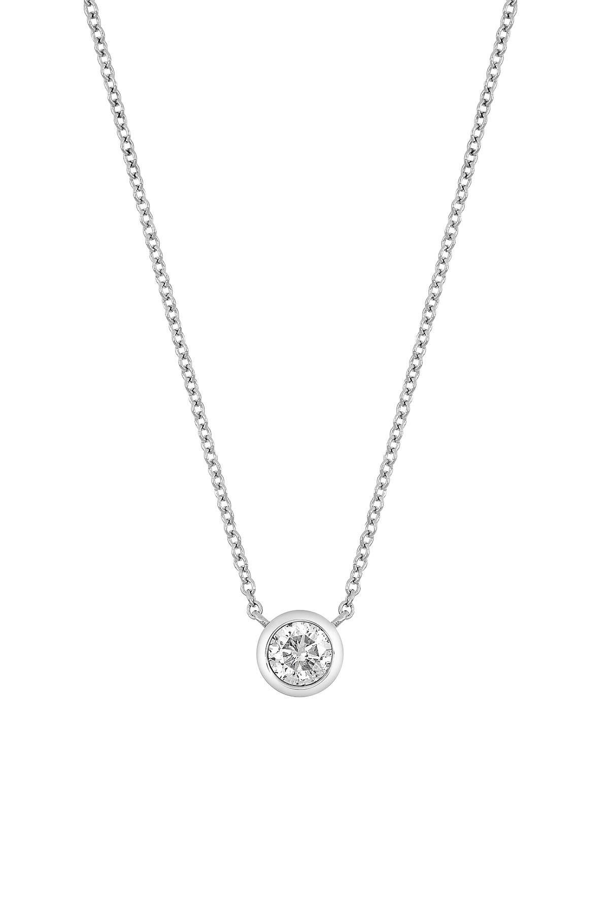 Image of Bony Levy 14K White Gold Bezel Set Diamond Solitaire Pendant Necklace - 0.25 ctw