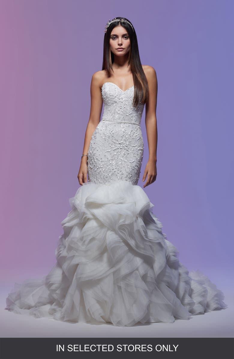 Lazaro Stephanie Beaded Strapless Organza Mermaid Wedding Dress