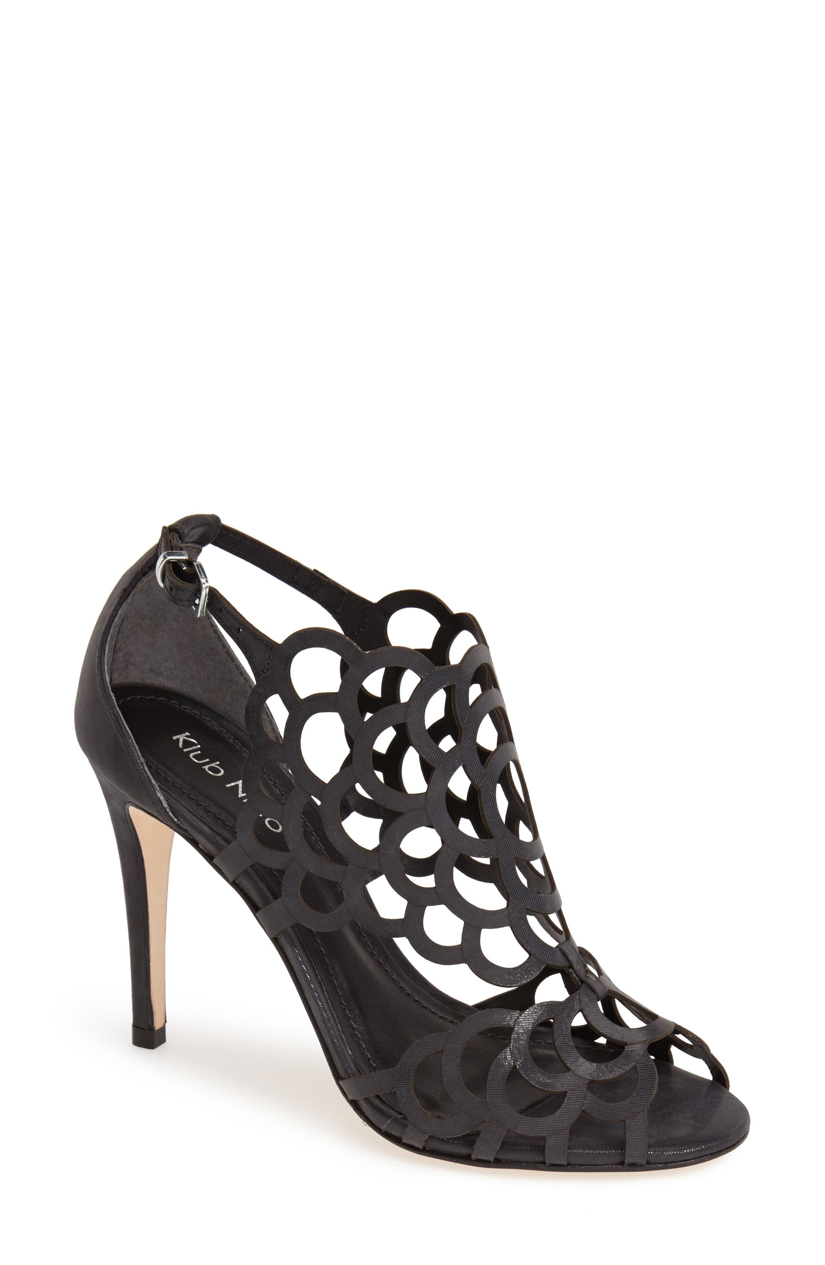 ,                             'Millie' Cutout Sandal,                             Alternate thumbnail 3, color,                             BLACK