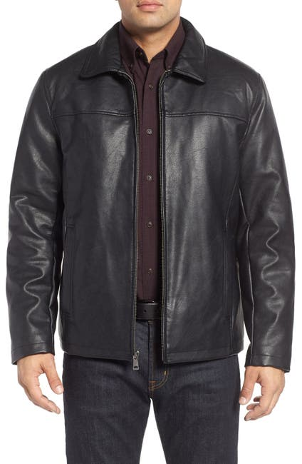 Image of Cole Haan Collared Open Bottom Faux Leather Jacket