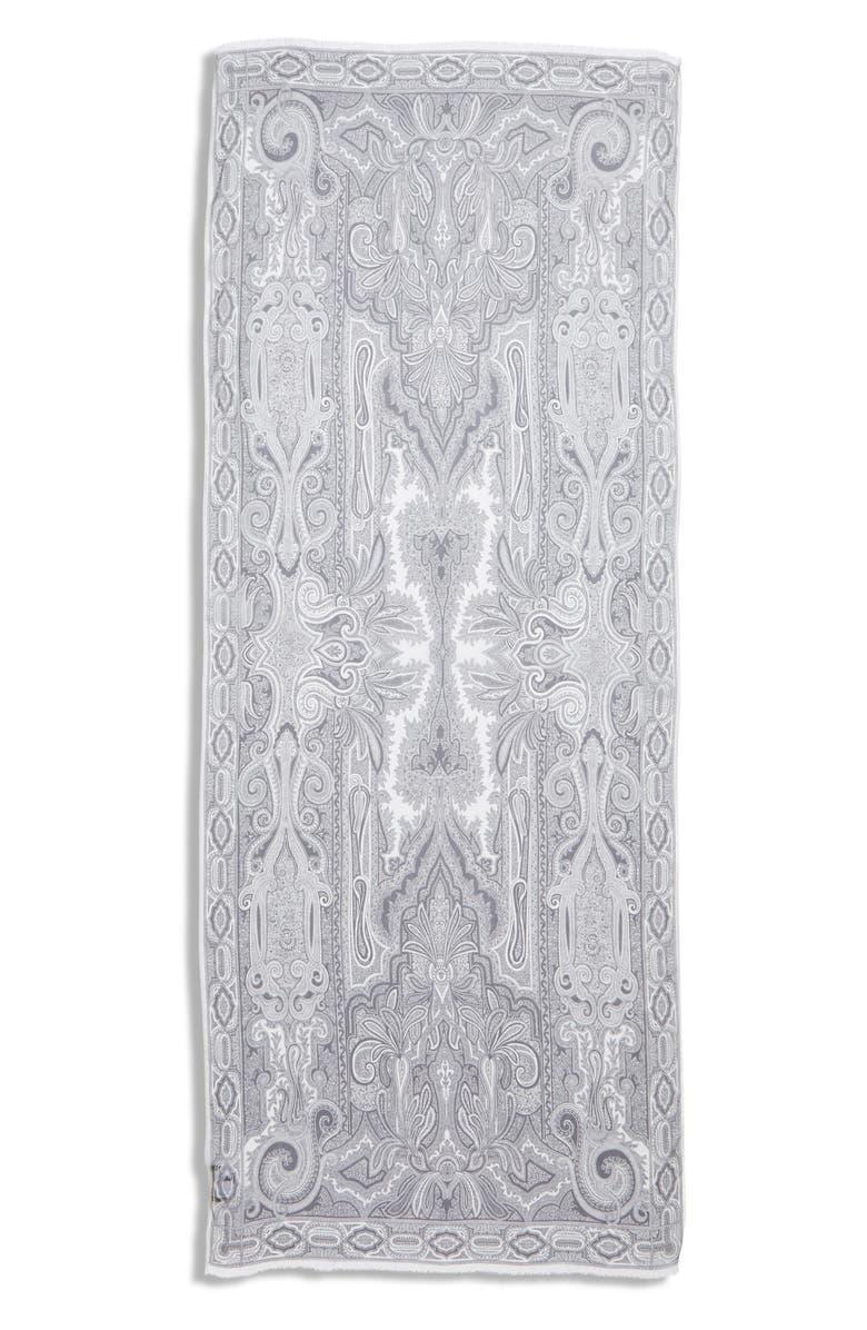 ETRO Sciarpa Delhy Silk Scarf, Main, color, WHITE