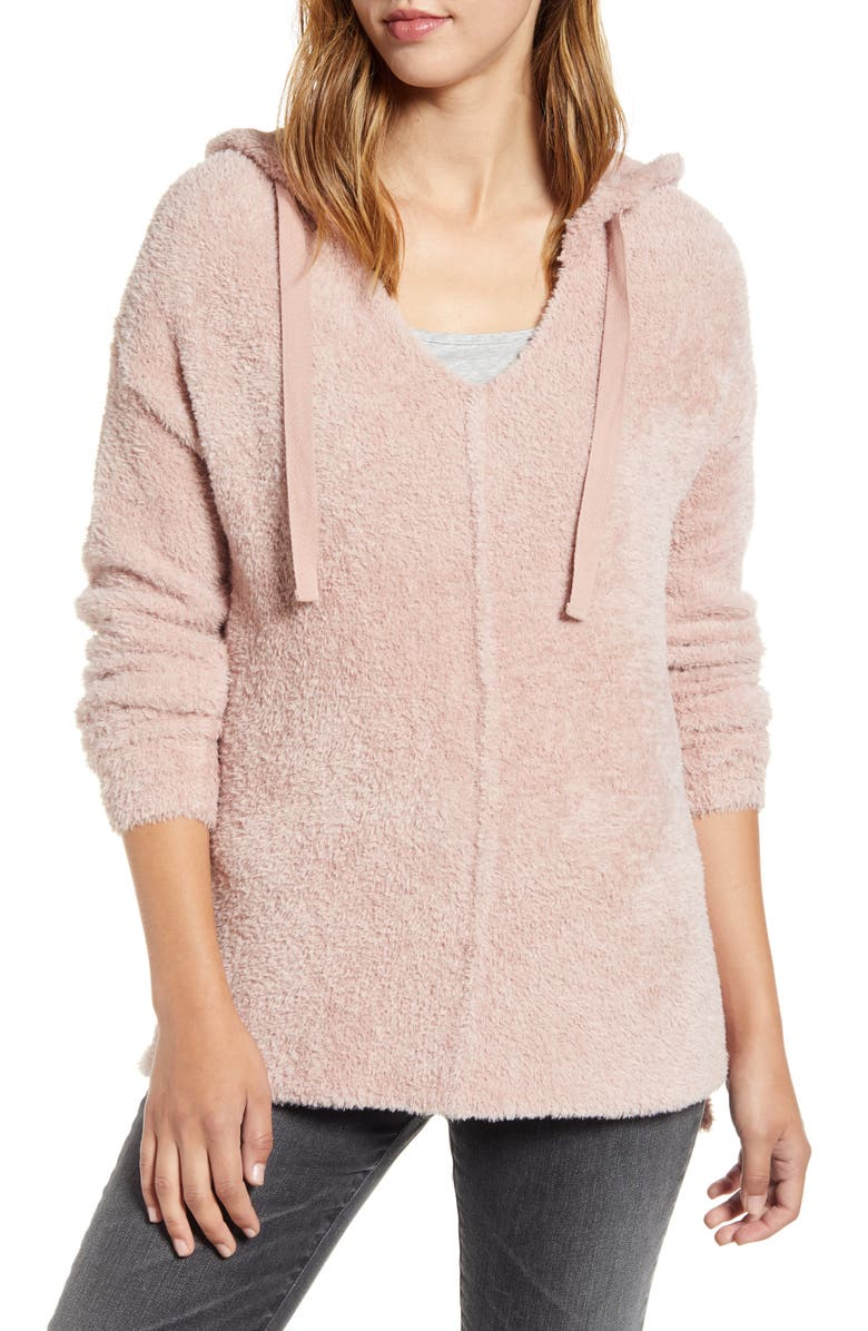CASLON<SUP>®</SUP> Off-Duty Sweater Hoodie, Main, color, PINK ADOBE