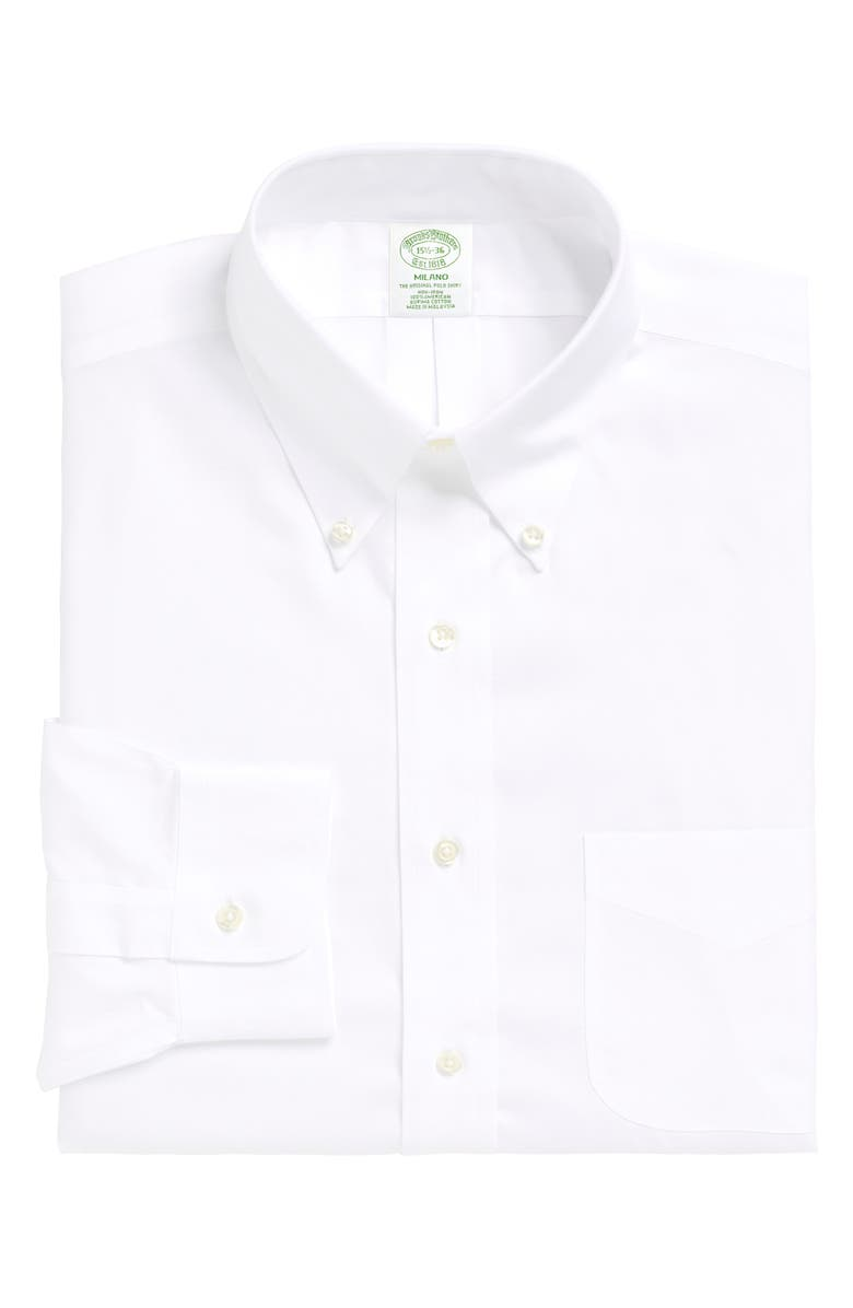 BROOKS BROTHERS Milano Slim Fit Solid Dress Shirt, Main, color, WHITE