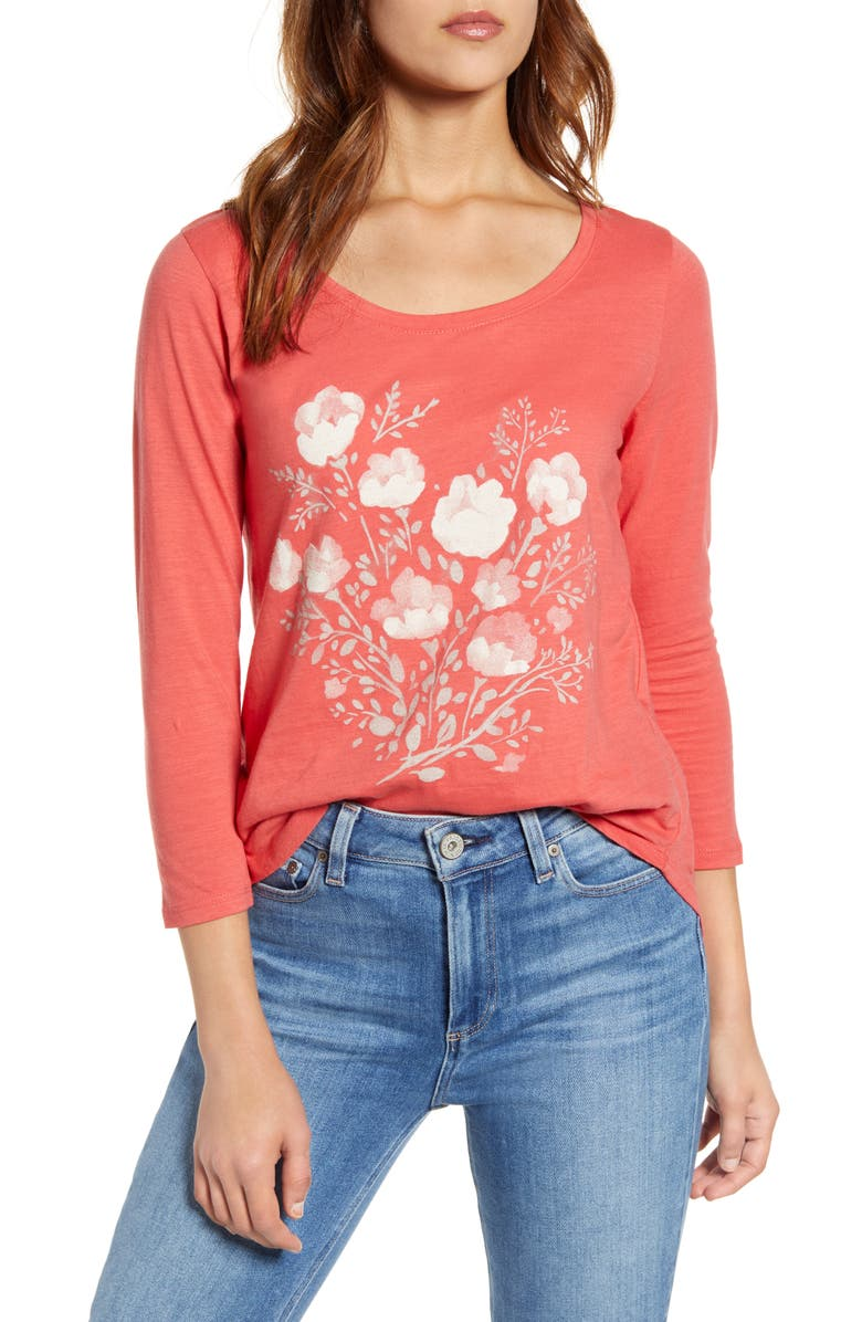 LUCKY BRAND Watercolor Floral Graphic Tee, Main, color, 630