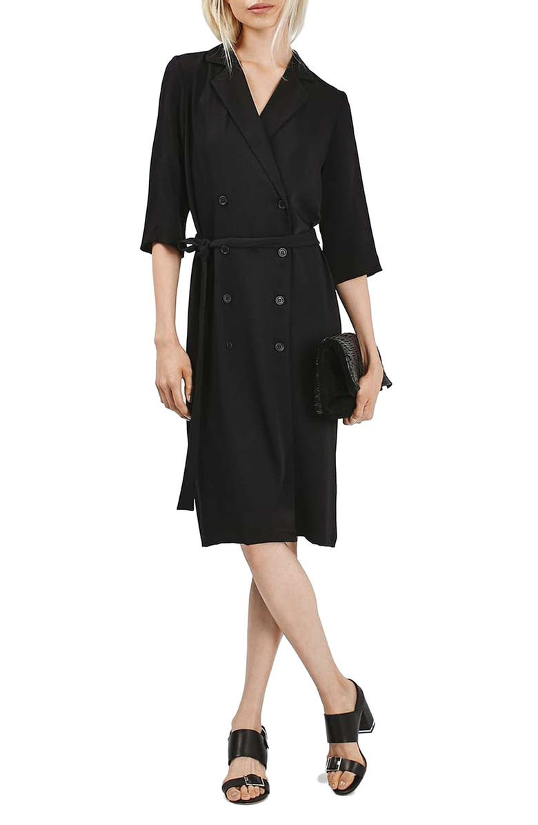 TOPSHOP Double Breasted Wrap Midi Dress, Main, color, 001