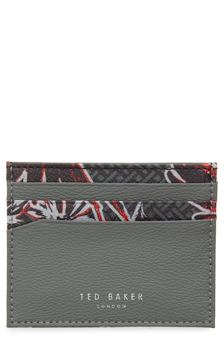 TED BAKER LONDON Printed Leather Card Holder, Main, color, 020