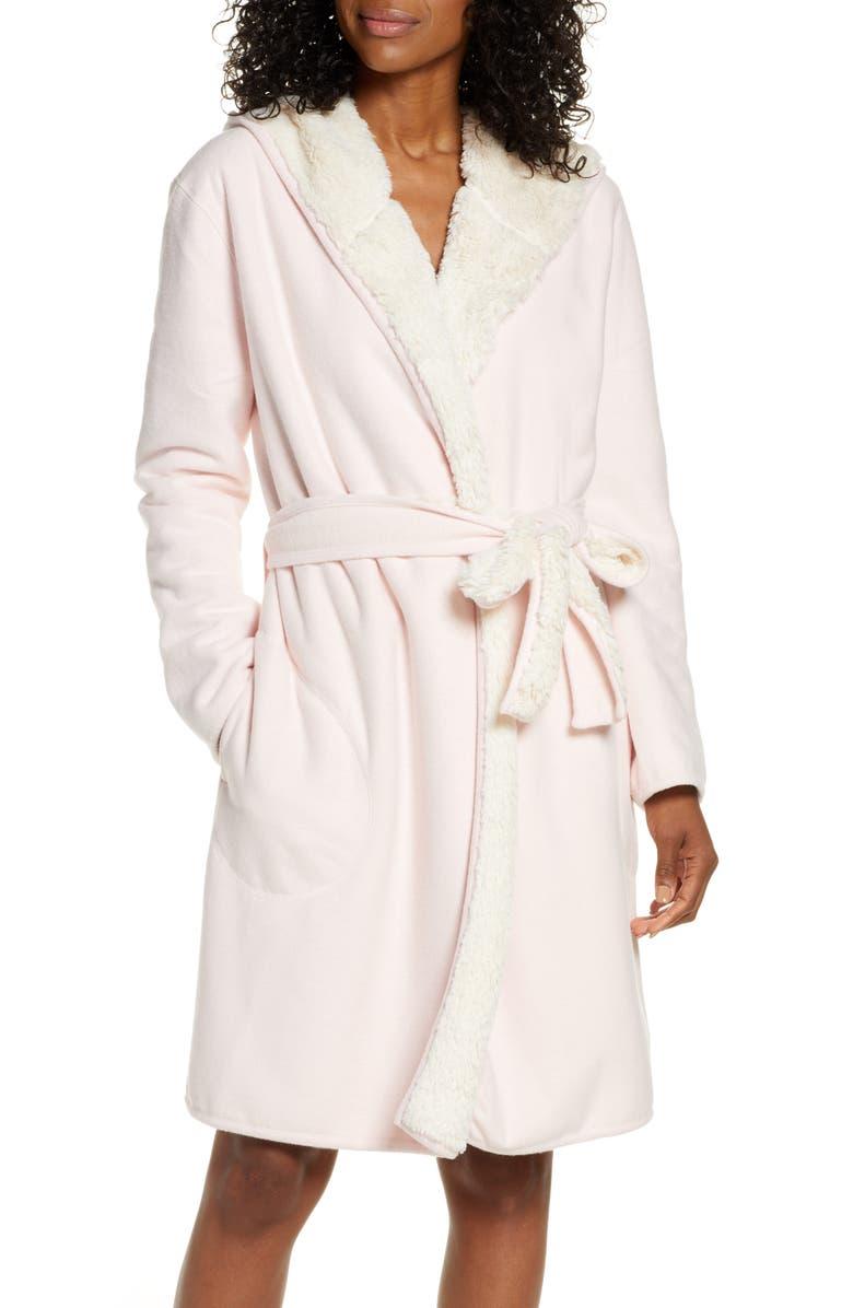 UGG<SUP>®</SUP> Portola Reversible Hooded Robe, Main, color, SEASHELL PINK HEATHER