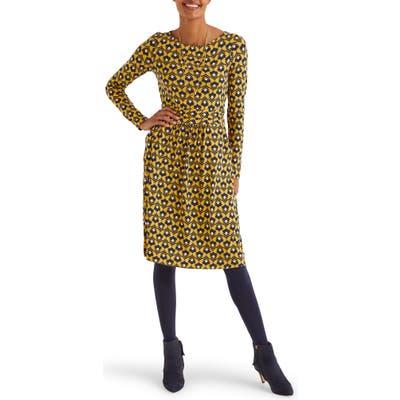 Boden Abigail Print Long Sleeve Jersey Dress
